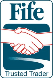 Fife Trusted Trader logo depicting two hands shaking on a deal