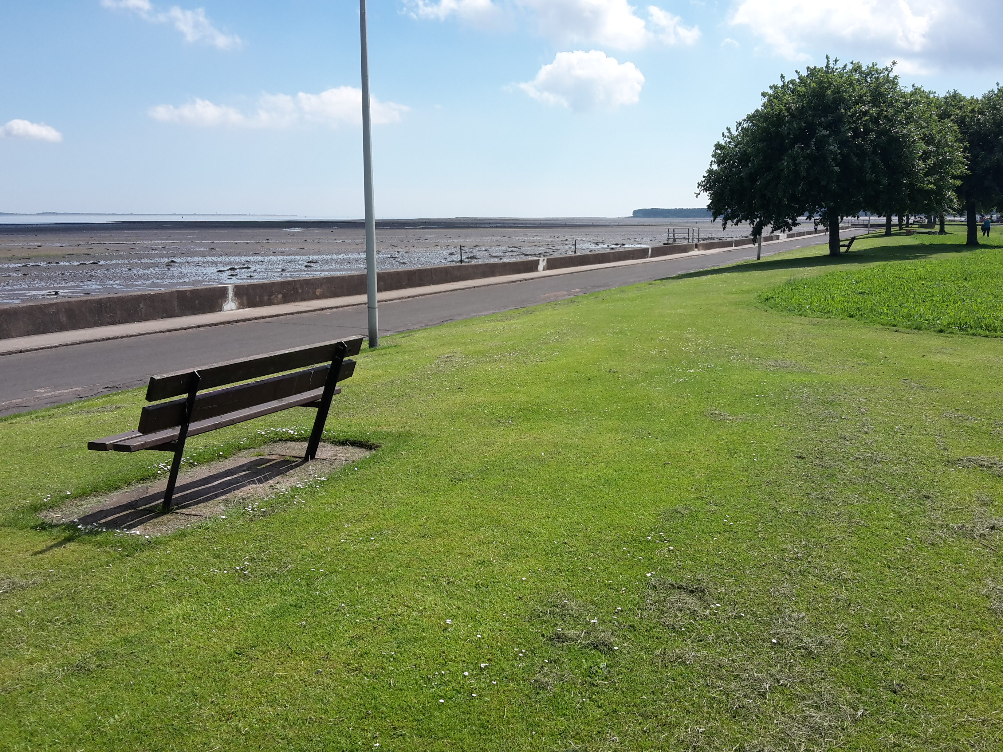 A bench looking out over the Tay to Dundee and Angus coast