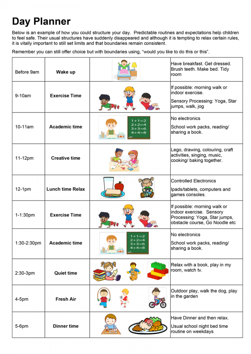 Example day planner