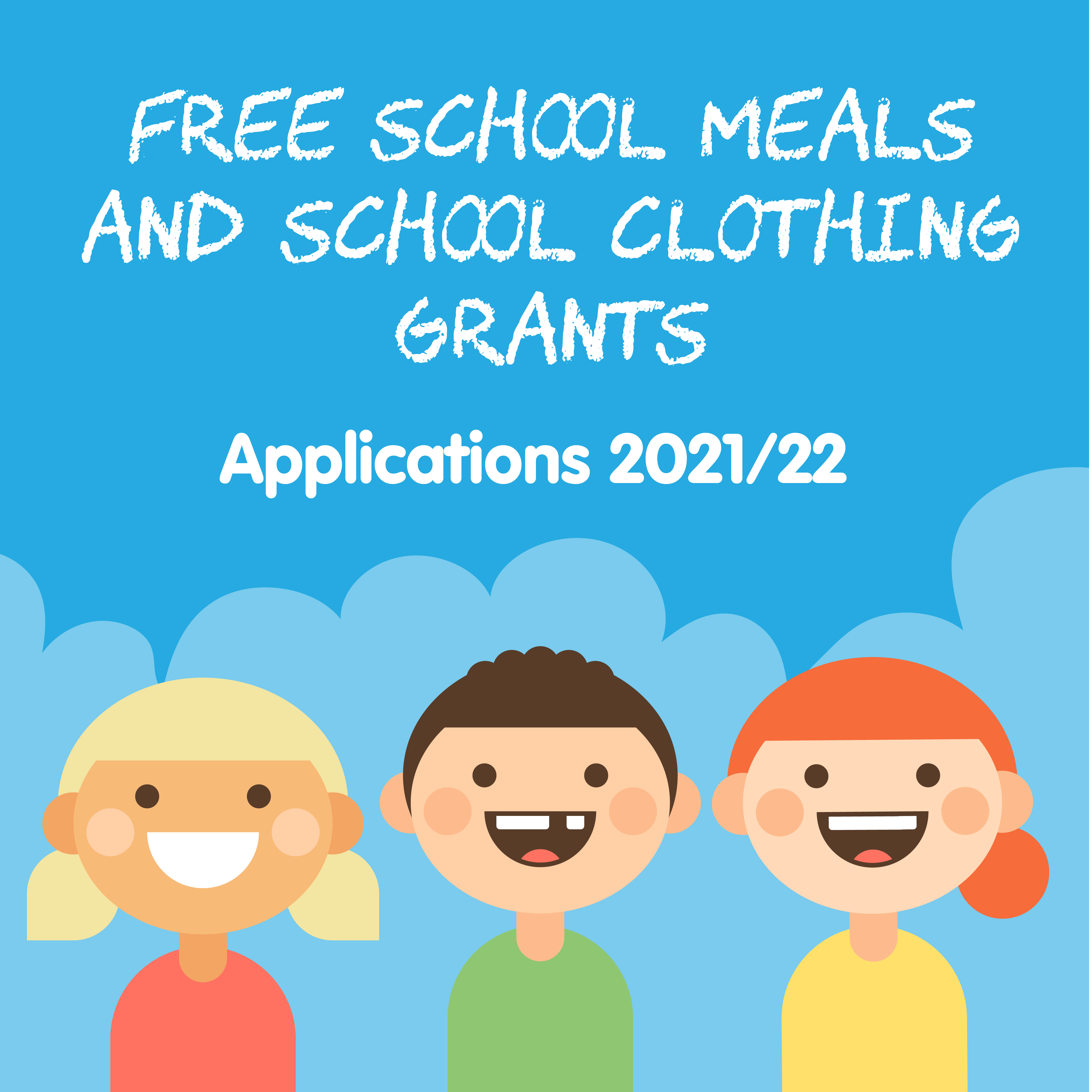 Free School Meals & School Clothing Grant applications 2021/22 - Smiling children