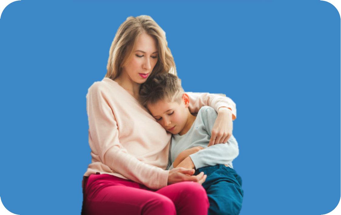 Parent comforting child