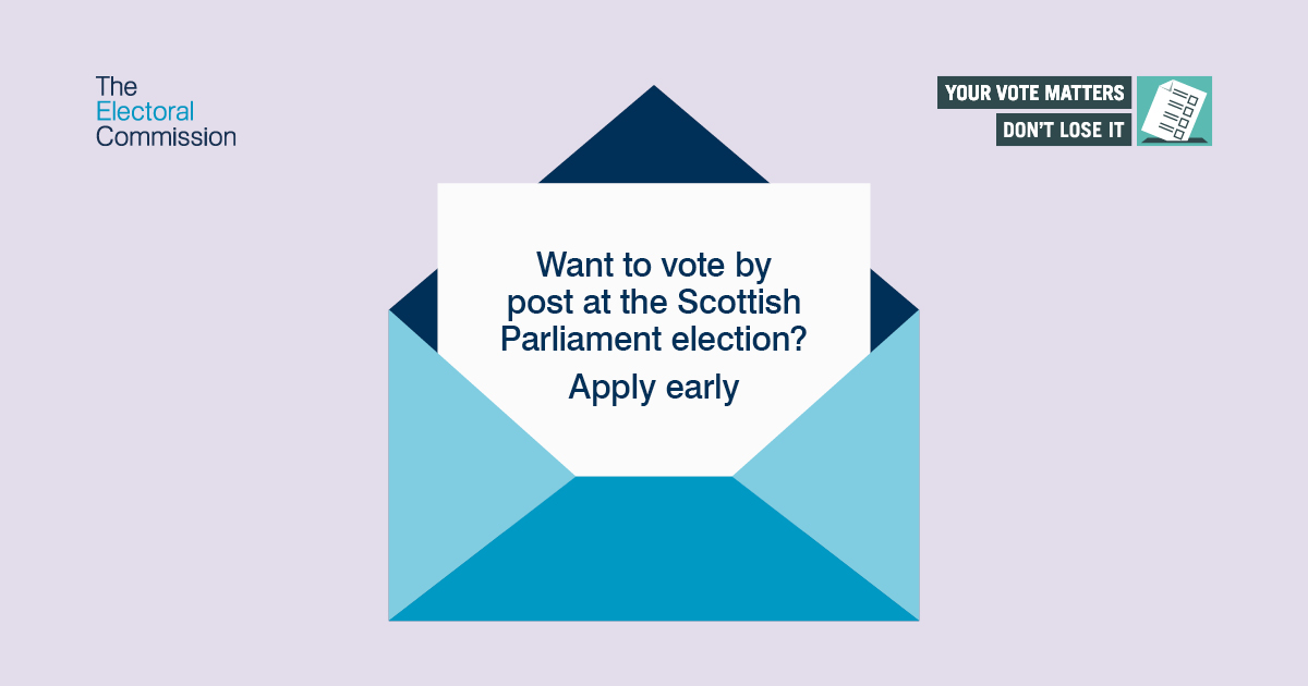 Envelope with note asking if you want to vote by post at the Scottish Parliament election to apply early
