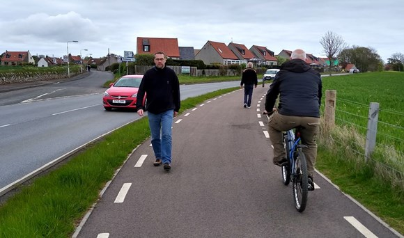 Walkers and cyclist using the Kilrenny to Anstruther Section of the path which is already complete.